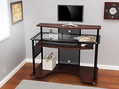 ZLine Designs Cyrus Workstation Glass Desk Cherry  Staples