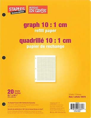 staples graph 10 1 cm quad refill paper 8 3 8