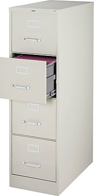 "Staples 4-Drawer Vertical File Cabinet, 25"", Light Gray ..."