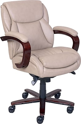 lazboy office chair stool ghana la z boy arden leather managers fixed arms taupe 46587 staples