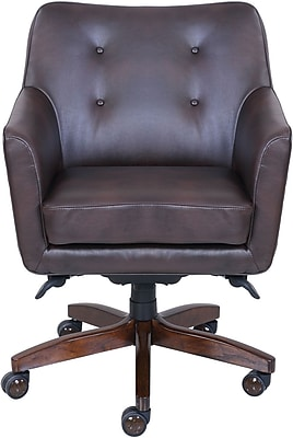 lazboy office chair small kitchen table and chairs uk la z boy kelsey leather computer desk fixed arms brown 47360 staples
