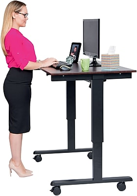 Luxor 48 Electric Standing Desk Dark Walnut Top Black