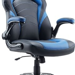 Desktop Gaming Chair Slipcovers For Club Chairs Staples Black And Blue