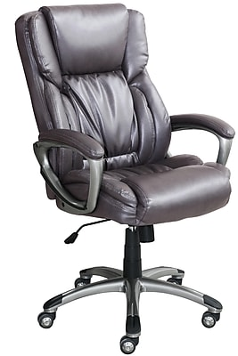 serta bonded leather executive chair wicker rattan and ottoman works office harvard gray chr200113 https www staples 3p com s7 is