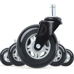Office Chair Rollerblade Wheels Fold Out Lifelong Casters Replacement Style Black Grey 5 Set Bl2375