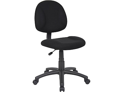 simple desk chair eames inspired rocking boss deluxe posture fabric executive office armless black b315 bk staples