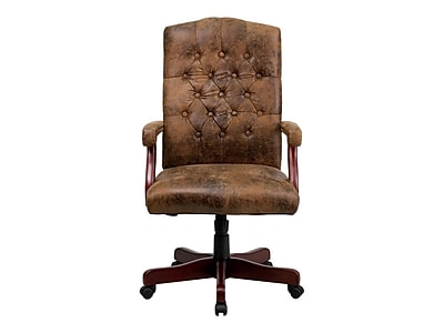 wood and leather executive office chairs yeti chair accessories flash furniture fixed arms brown 802brn staples