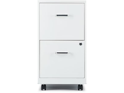 Staples 2Drawer Vertical Mobile File Cabinet White Letter 18 D 52155  Staples