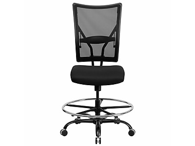 mesh drafting chair leather desk chairs flash furniture hercules series 400 lb capacity big tall stool black staples
