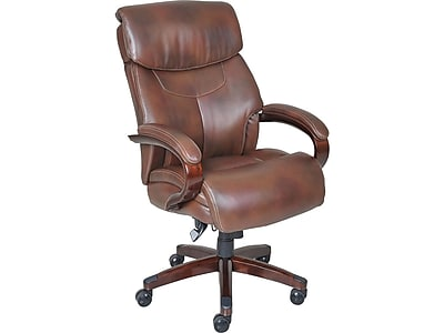 desk chair brown leather counter high table and chairs la z boy bradley executive office fixed arms 44762 staples