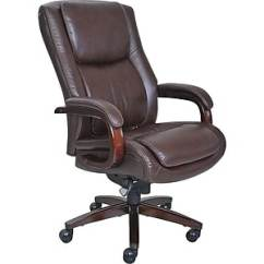 Unique Leather Office Chairs Toddler Rocking Chair With Straps La Z Boy Winston Executive Fixed Arms Brown 44763 Staples