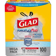 Kitchen Trash Bags How Much Is It To Remodel A Small Glad Forceflex Tall Drawstring 13 Gallon 100 Box Staples