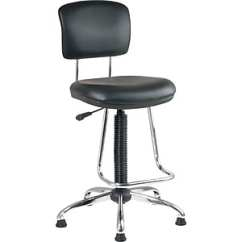 Drafting Office Chair Stein Mart Chairs Star Faux Leather And Chrome With Teardrop Footrest Black Staples