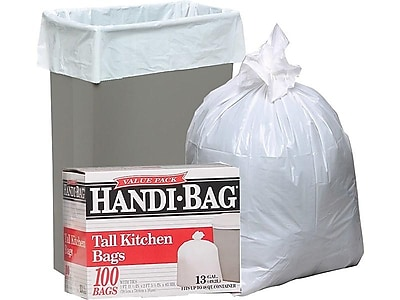 tall kitchen bags kitchens designs webster handi bag trash super value pack white 13 gallon 100 box staples