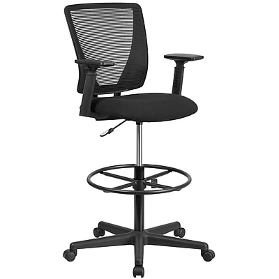 mesh drafting chair designer office chairs ergonomic mid back with black fabric seat adjustable foot ring and arms go 2100 a gg staples