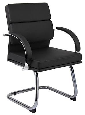 waiting room chairs vinyl revolving chair repair near me reception staples boss caressoftplus executive series b9409 bk