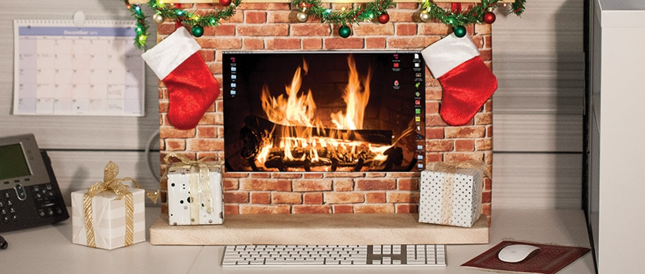 Office Holiday DIY Merry Monitor Fireplace  Staples