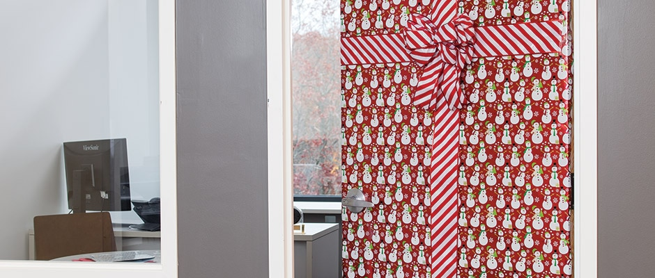 Office Holiday DIY Giftwrapped Door  Staples