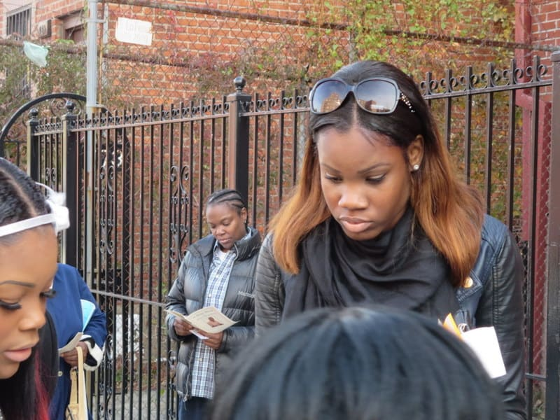 Tony Sterling's daughter outside Calvary Church on the day of his funeral.