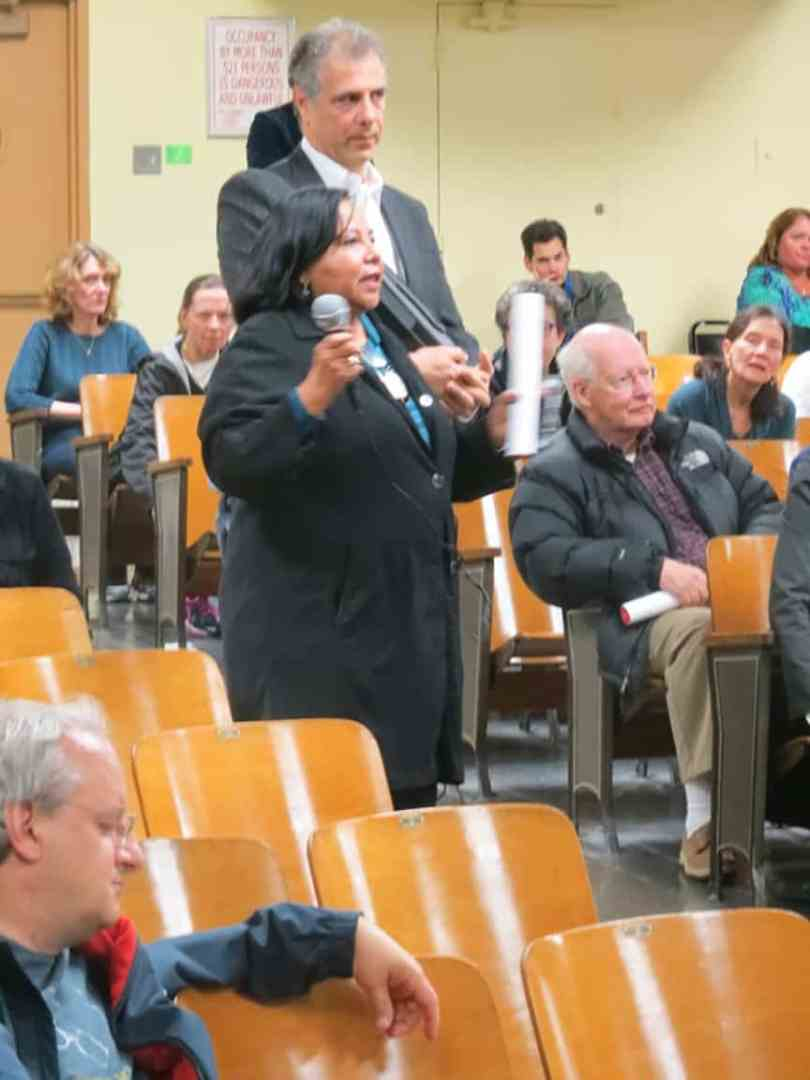 During a question and answer period, this woman told the audience that FORTIS really does not care about the community, and have been violating building codes for the past year.