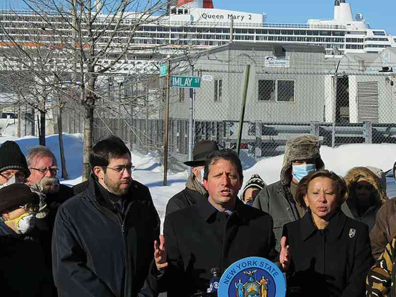 Back on a cold January day in 2011, our local politicos gathered at the Cruise Terminal in support of a shore power system for Red Hook. Six years later that proposal has become a reality. (photo by George Fiala)