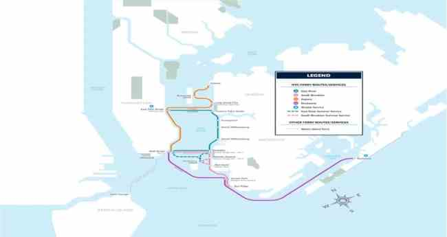 The new commuter ferry routes.