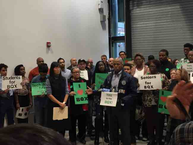 Brooklyn Borough President Eric Adams speaks in front of supporters of the BQX.