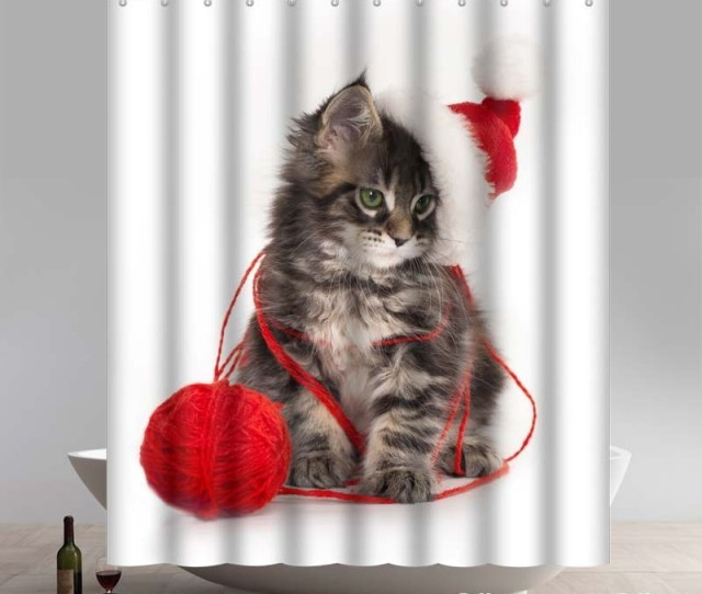 Funny Christmas Kitten With Santa Hat Waterproof Kitchen Bathroom Shower Curtains
