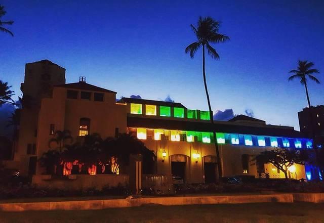 honolulu hale lit with rainbow pride