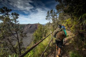 COURTESY HAWAI'I VOLCANOES NATIONAL PARK                                 Hikers walk past the restored Kilauea Iki Trail near trail marker No. 4.