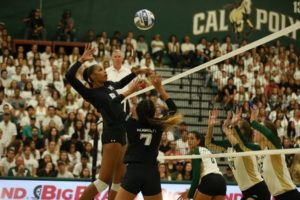 ALEXANDER BOHLEN / SPECIAL TO THE STAR-ADVERTISER Hawaii's Skyler Williams attacks the ball against Cal Poly.