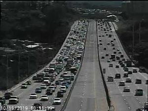 COURTESY GOAKAMAI.ORG                                 Traffic was jammed up for miles on the H-1 westbound after a food waste truck spilled its load in a traffic accident near the Waipahu off-ramp this morning.