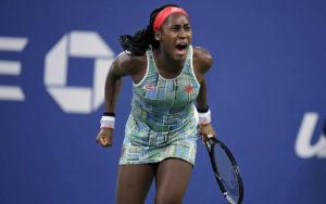 ASSOCIATED PRESS                                 Coco Gauff, of the United States, celebrates after defeating Timea Babos, of Hungary, in the second round of the U.S. Open tennis tournament in New York on Aug. 29. The American teenager advanced to her first WTA final by beating Andrea Petkovic 6-4, 6-4 on Saturday at the Upper Austria Ladies in Linz, Austria.