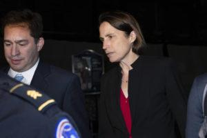 ASSOCIATED PRESS                                 Former White House advisor on Russia, Fiona Hill, leaves Capitol Hill Monday after testifying before congressional lawmakers as part of the House impeachment inquiry into President Donald Trump.