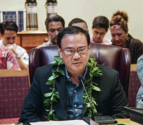 "DENNIS ODA / 2016                                 OHA Chairwoman Colette Machado and trustee Brendon Kalei'aina Lee said an investigative committee's findings ""should in no way be considered a victory for Trustee Akina."" Keli'i Akina is shown during his first board meeting in 2016."