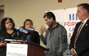 ASSOCIATED PRESS                                 Mahud Villalaz, 42, of Milwaukee gestures to the second-degree burns on his face at a news conference Saturday, one day after a man threw acid at him outside a restaurant on the city's south side. He is joined by, from left, state Rep. JoCasta Zamarripa, his sister, and Forward Latino leader Darryl Morin.