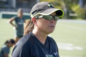STAR-ADVERTISER / AUG. 2017                                 UH women's soccer head coach Michele Nagamine during practice. Nagamine was today named the Big West Coach of the Year for the 2019 season after leading her team to the conference's postseason tournament for the first time.