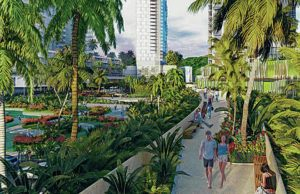 COURTESY HOWARD HUGHES CORP.                                 A rendering of the planned pedestrian bridge over Ala Moana Boulevard.