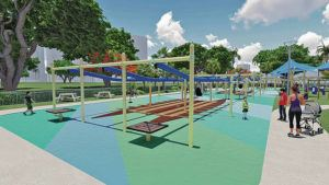 RENDERING COURTESY DESIGN PARTNERS INC.                                 A volunteer group has obtained city approval to build a one-acre public playground at Ala Moana Regional Park. Mayor Kirk Caldwell defended advocates of the playground today.