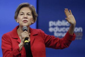 ASSOCIATED PRESS                                 Democratic presidential candidate Sen. Elizabeth Warren, D-Mass, one of seven scheduled Democratic candidates participating in a public education forum, gives her opening statement, Saturday in Pittsburgh.