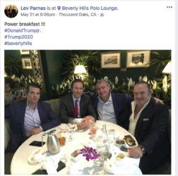 THE CAMPAIGN LEGAL CENTER VIA ASSOCIATED PRESS                                 From left, Donald Trump Jr., Tommy Hicks Jr., Lev Parnas and Igor Fruman, in a Facebook post on May 21, 2018. Parnas and Fruman were arrested in October 2019 on campaign finance violations resulting from a donation to a political action committee supporting President Donald Trump's reelection.