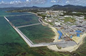 KOJI HARADA/KYODO NEWS VIA AP / 2018                                 Preliminary construction work off Henoko, in Nago city, Okinawa prefecture, Japan, where the Japanese government plans to relocate a U.S. air base from one area of Okinawa's main island to another. A construction needed to improve the fragile structure underneath of a planned relocation site for a U.S. Marine Corps. base on Okinawa is to require twice as much time and cost than the previous estimate, adding more than a decade to the plan that has already been delayed for more than 20 years. The Defense Ministry on Wednesday, Dec. 25, said its latest estimate now shows that a relocation of the U.S. Marine Corps.