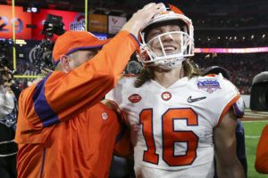 ASSOCIATED PRESS                                 Clemson quarterback Trevor Lawrence is congratulated after Clemson defeated Ohio State.