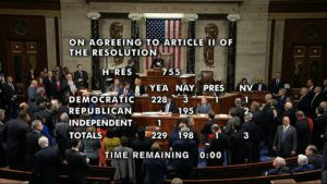 HOUSE TELEVISION VIA AP                                 The vote total showing the passage of the second article of impeachment, obstruction of Congress, against President Donald Trump by the House of Representatives at the Capitol in Washington.