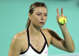 ASSOCIATED PRESS                                 Maria Sharapova from Russia reacts in a match against Ajla Tomljanovic from Australia during first day of the Mubadala World Tennis Championship in Abu Dhabi, United Arab Emirates, Thursday, Dec. 19, 2019. Sharapova has pulled out of the Hawaii Open that starts tonight at the Stan Sheriff Center.