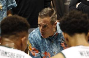 STAR-ADVERTISER FILE                                 Acting head coach Chris Gerlufsen instructed the 'Bows during a game on Nov. 15. Hawaii fell to Georgia Tech tonight in the Hawaiian Airlines Diamond Head Classic basketball tournament.