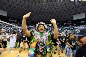 STEVEN ERLER / Special to the Honolulu Star-Advertiser                                 Hawaii setter Norene Iosia dances for family, friends and fans after a match between Long Beach State and Hawaii played on Nov. 22, 2019 at Stan Sheriff Center. Iosia today was named to the American Volleyball Coaches Association All-America honorable mention team