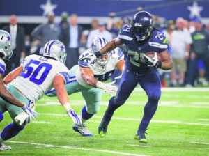 ASSOCIATED PRESS                                 Seattle Seahawks running back Marshawn Lynch runs against the Dallas Cowboys during an NFL football game in 2015.