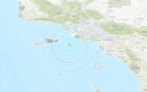 COURTESY USGS                                 An earthquake under the ocean gave an early wake-up jolt to some Southern California residents this morning.