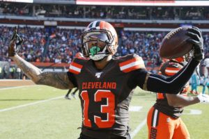 ASSOCIATED PRESS                                 Cleveland Browns wide receiver Odell Beckham Jr. celebrates after a 35-yard touchdown during the first half of an NFL football game against the Miami Dolphins on Nov. 24 in Cleveland.
